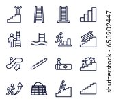 staircase icons set. set of 16...   Shutterstock .eps vector #653902447