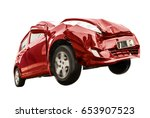 the red car has damaged the... | Shutterstock . vector #653907523