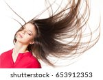 young brunette beauty with her... | Shutterstock . vector #653912353