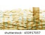 double exposure of stack of... | Shutterstock . vector #653917057