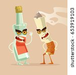 angry bottle glass of vodka and ... | Shutterstock .eps vector #653919103