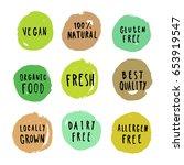 set of food badges. vegan ... | Shutterstock .eps vector #653919547