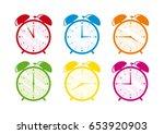 alarm clock illustration. set...   Shutterstock . vector #653920903