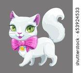 cute cartoon fluffy white cat... | Shutterstock .eps vector #653924533
