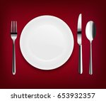 plate with spoon | Shutterstock . vector #653932357