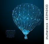 polygonal air balloon. vector... | Shutterstock .eps vector #653943433
