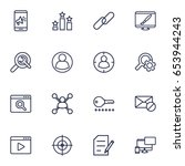 set of 16 engine outline icons... | Shutterstock .eps vector #653944243