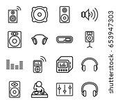 stereo icons set. set of 16... | Shutterstock .eps vector #653947303