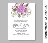 peony wedding invitation... | Shutterstock .eps vector #653954827