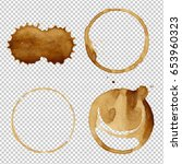 coffee stain collection  vector ... | Shutterstock .eps vector #653960323