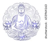 buddha sitting in the lotus... | Shutterstock .eps vector #653964163