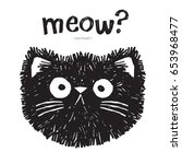 Scruffy Cat Says Meow  Vector...