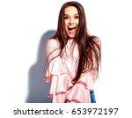 portrait of beautiful caucasian ...   Shutterstock . vector #653972197