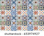colorful vintage ceramic tiles... | Shutterstock . vector #653974927