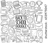 back to school doodle icons... | Shutterstock .eps vector #653975047