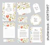 vector gentle wedding cards... | Shutterstock .eps vector #653975497