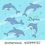 set of five cute dolphins... | Shutterstock .eps vector #653999767