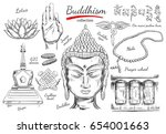 buddhism collection.... | Shutterstock .eps vector #654001663