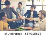 asian group professional... | Shutterstock . vector #654015613