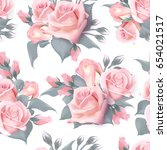english roses seamless. pink... | Shutterstock . vector #654021517
