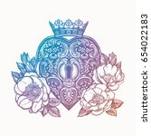 ornate mystic key hole inside... | Shutterstock .eps vector #654022183
