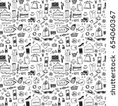 doodle shopping icons seamless... | Shutterstock .eps vector #654060367