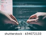 Small photo of coding code program programming compute coder work write software hacker develop man concept - stock image