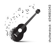black guitar with notes... | Shutterstock .eps vector #654081043