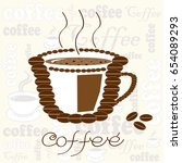 cup of coffee composed of beans ... | Shutterstock .eps vector #654089293