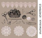 vector illustration. handmade... | Shutterstock .eps vector #654098413