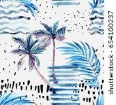 abstract summer seamless... | Shutterstock . vector #654100237
