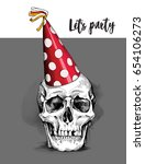 skull in a red polka dot party... | Shutterstock .eps vector #654106273