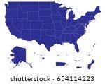high detailed blue vector map   ... | Shutterstock .eps vector #654114223