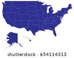 high detailed blue vector map   ... | Shutterstock .eps vector #654114313