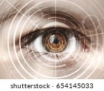 close up of woman eye in... | Shutterstock . vector #654145033