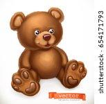 toy bear  3d vector icon | Shutterstock .eps vector #654171793