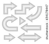arrow set  neon effect  vector... | Shutterstock .eps vector #654178447