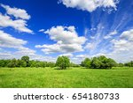 green field with trees and blue ...   Shutterstock . vector #654180733