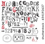 whimsical alphabet  numbers and ... | Shutterstock .eps vector #654192637