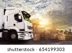truck in a deposit with... | Shutterstock . vector #654199303