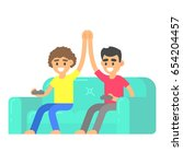 friends play in video game on... | Shutterstock .eps vector #654204457