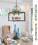 dining room table and pendant... | Shutterstock . vector #654218233