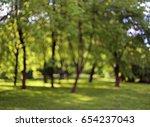 blurred green park background | Shutterstock . vector #654237043