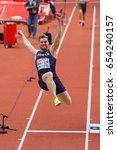 Small photo of BELGRADE, SERBIA - MARCH 3-5, 2017: Man Heptathlon, , MAYER Kevin, Long Jump, European Athletics Indoor Championships in Belgrade, Serbia
