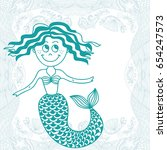 mermaid and sea. vector... | Shutterstock .eps vector #654247573