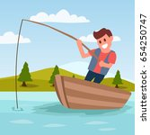 fishing cartoon illustration... | Shutterstock .eps vector #654250747