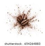 shattered coffee powder... | Shutterstock . vector #654264883
