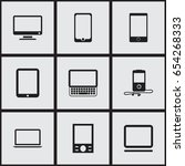 set of 9 editable devices icons....