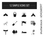 set of 12 editable trip icons.... | Shutterstock .eps vector #654268597