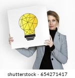 woman holding billboard network ... | Shutterstock . vector #654271417